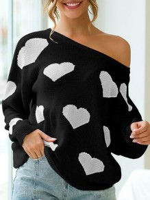 Black-White Love Heart Pattern Cut Out Backless One-Shoulder Valentine's Day Oversized Pullover Sweater