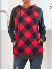Red Plaid Buffalo Checkered Pockets Drawstring Hooded Casual Sweatshirt