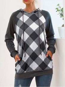 Black Plaid Buffalo Checkered Pockets Drawstring Hooded Casual Sweatshirt