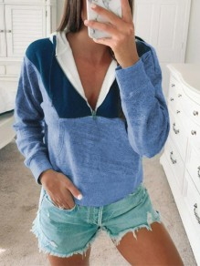 Blue Patchwork Zipper Bodycon Comfy Hit Color Going out Sweatshirt