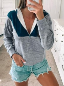 Grey Patchwork Zipper Bodycon Comfy Hit Color Going out Sweatshirt