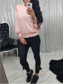 Pink Lace-up Bodycon Comfy Long Sleeve Going out Sweatshirts