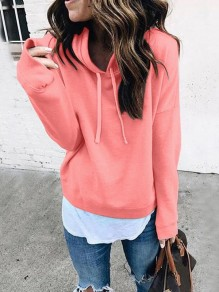 Pink Drawstring Bodycon Comfy Long Sleeve Going out Sweatshirts