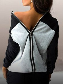 Black Patchwork Zipper Bodycon Comfy Ttrendy Going out Sweatshirt