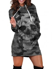 Grey Camouflage Shantou Pockets Drawstring Hooded Casual Sweatshirt