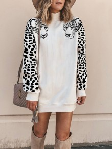 White Leopard Pattern Bodycon Ttrendy Going out Sweatshirt