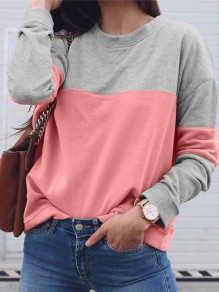 Pink Bodycon Comfy Hit Color Long Sleeve Going out Sweatshirt