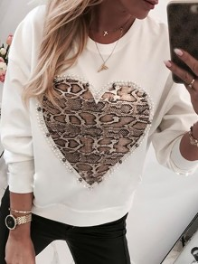 White Patchwork Pearl Pattern Bodycon Comfy Going out Sweatshirt