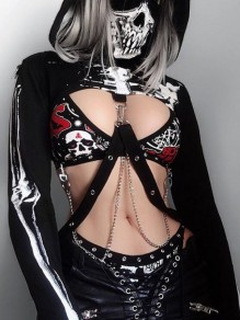 Black Skeleton Print Hooded Long Sleeve Chain Crop Rosatic Witch Gothic Hoodie