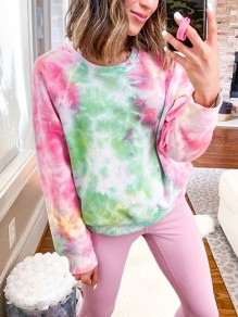 Pink Tie Dye Print Round Neck Long Sleeve Cute Sweatshirt