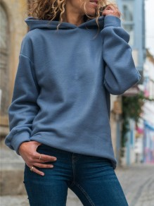 Blue Oversize Hooded Long Sleeve Fashion Sweatshirt
