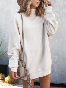 White High Neck Long Sleeve Oversize Fashion Sweatshirt