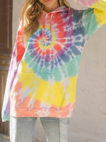 Yellow Tie Dye Drawstring Pocket Long Sleeve Hooded Sweatshirt