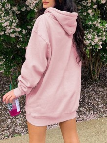 Pink Drawstring Pocket Oversize Long Sleeve Fashion Hooded Sweatshirt