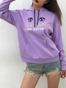 Purple Print Drawstring Pocket Oversize Long Sleeve Fashion Hooded Sweatshirt
