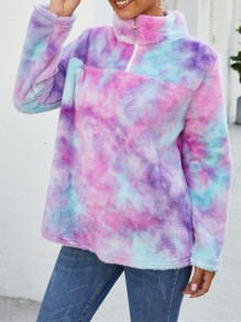 Purple Tie Dye Zipper Band Collar Long Sleeve Teddy Pullover Sweatshirt