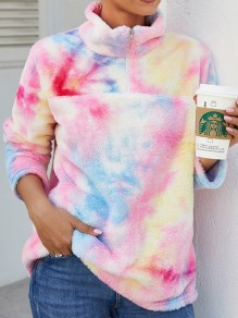 Pink Tie Dye Zipper Band Collar Long Sleeve Teddy Pullover Sweatshirt