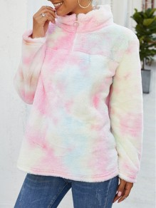 Light Pink Tie Dye Zipper Band Collar Long Sleeve Teddy Pullover Sweatshirt