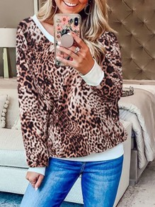 Coffee Leopard Print Off Shoulder Round Neck Long Sleeve Casual Sweatshirt