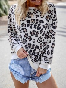 White Leopard Print Round Neck Long Sleeve Casual T-Shirt Sweatshirt
