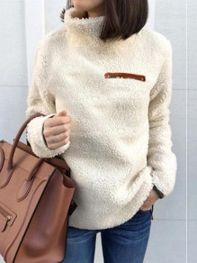 Beige Patchwork Zipper Long Sleeve Bodycon Fashion Sweatshirt