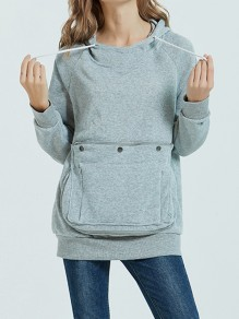 Grey Zipper Pockets Drawstring Hooded Long Sleeve Sweatshirt
