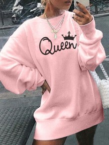 White Queen Letter Print Round Neck Long Sleeve Oversized Pullover Sweatshirt