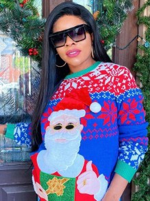 Blue-Red Cartoon Mrs Santa Clause Pattern Round Neck Ugly Christmas Pullover Sweatshirt