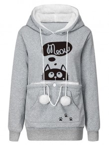 Light Grey Animal Pockets Drawstring Pom For Baby Band Hooded Cute Sweatshirt