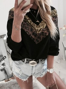 Black Leopard Sequin Collarless Round Neck Long Sleeve Fashion Sweatshirt
