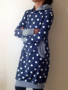 Blue Polka Dot Print Pockets Hooded Long Sleeve Fashion Sweatshirt