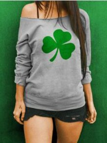 Grey Clover Pattern One Shoulder Long Sleeve St patrick's Day Oversized Pullover Sweatshirt