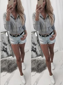Grey Patchwork Pearl Zipper Bodycon Going out Sweatshirt