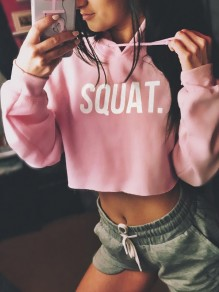 "Pink ""SQUAT"" Letter Print Hooded Long Sleeve Crop Sports Hooded Sweatshirt"