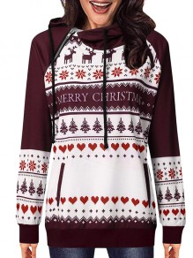 Red Snowflake Heart Pattern Long Sleeve Fashion Hooded Sweatshirt