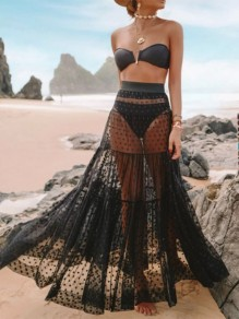 Black Grenadine Patchwork Three Piece Beachwear Fashion Bikini