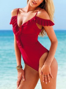 Red Patchwork V-neck Sleeveless Fashion One-Piece