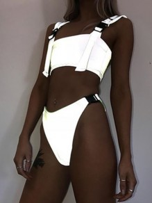 Silver Buckle Shoulder-Strap Sleeveless Two Piece High Waisted Reflective Rave Bikinis Swimwear