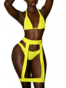 Neon Yellow Cut Out Halter Neck Backless High Waisted Two Piece Bikini Swimwear