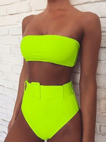 Neon Green Bandeau Buckle Backless High Waisted Two Piece Fashion Swimwear