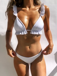 White 2-in-1 Ruffle Tie Back V-neck Fashion Bikini Swimwear