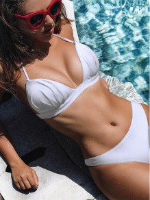 White Patchwork Halter Neck 2-in-1 Plunging Neckline Fashion Bikini