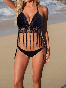 Black Tassel Tankinis Halter Neck Swimsuit Women V-neck Summer Beach Two Piece Swimwear