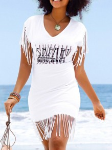 White Letter Tassel V-neck Short Sleeve Outdoors Beach Fashion Ladies Sunscreen T-Shirt