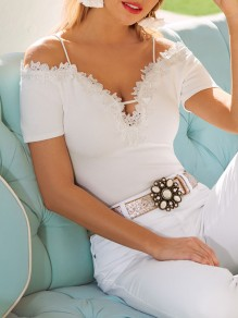 White Patchwork Lace Spaghetti Straps Deep V-neck Going out T-Shirt