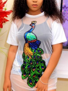 White Patchwork Grenadine Peacock Print Sequin Cut Out Sparkly Glitter Birthday Casual T-Shirt