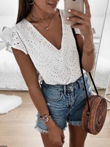 White Cut Out Bodycon Short Sleeve V-neck Sweet T-Shirt