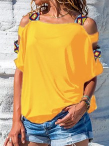 Yellow Cut Out Embroidery Bodycon Off Shoulder Going out T-Shirt