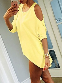 Yellow Cut Out Off-Shoulder Bodycon 3/4 Sleeve Round Neck Going out T-Shirt