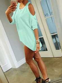 Green Cut Out Off-Shoulder Bodycon 3/4 Sleeve Round Neck Going out T-Shirt